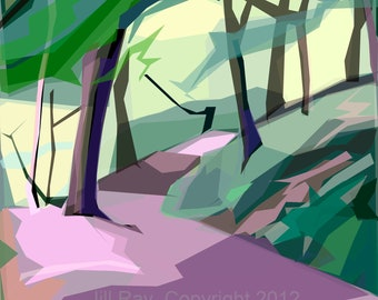 Park Bank Wood  (2a)  limited edition giclee print, mounted