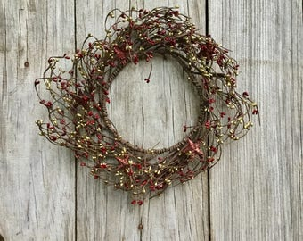 Red and Gold Pip Wreath with Stars, Pip Berry Wreath, Christmas Wreath