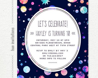 space themed birthday party invitation girls space birthday