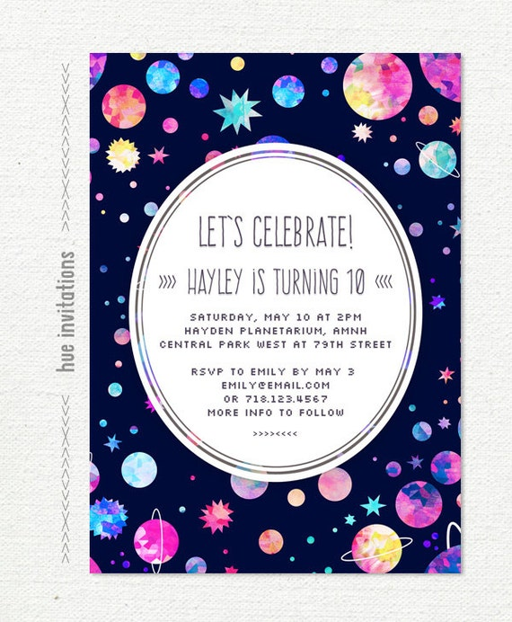 space birthday party invitation 10th birthday invitation for