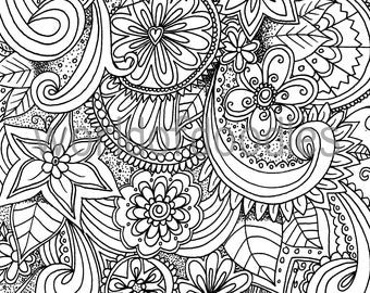 Flower Garden 2 - A4 Colouring Page, Printable, PDF Download, Adult Coloring, Relaxation, Zentangle, Summer, Mindfulness