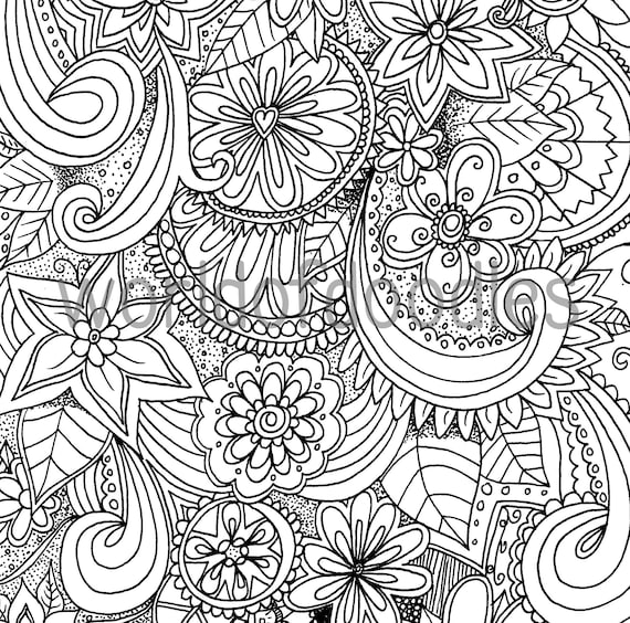 Flower Garden 2 A4 Colouring Page Printable PDF Download
