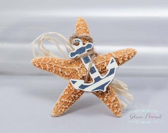 Orange Starfish Boutonniere -Beach Wedding. blue striped anchor, raffia, pin, corsage, prom, groom, groomsmen, fathers, destination wedding