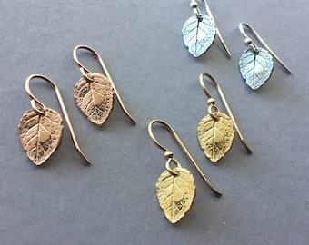 Leaf Earrings, Delicate Leaf Earrings, Gold Leaf Earrings, Rose Gold Leaf Earrings, Sterling Silver Leaf Earrings