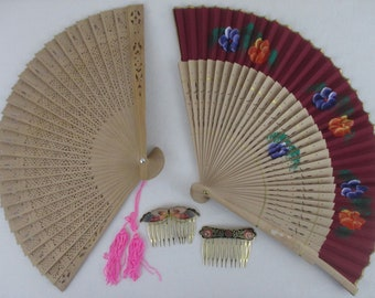 Two wood fans, includes two gifts