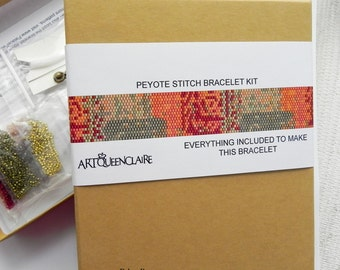 Gift Boxed Bead Loom Bead Weaving Bracelet KIT or Peyote Stitch Bracelet Kit - Pattern and All Delica Beads Included - Golden Beading Kit