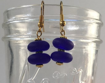 Seaglass Cobalt Earrings