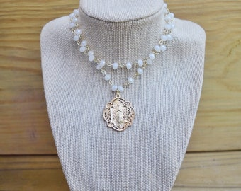 Clear Beaded Layered Relic Pendant Necklace