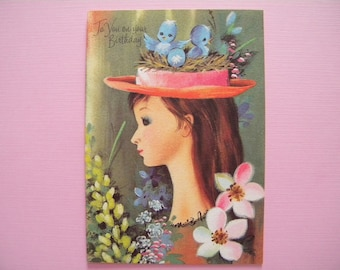 Vintage Unused Birthday Greeting Card Girl with Bluebirds in Her Hat