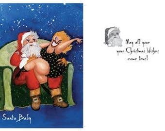 Santa Baby: Funny Christmas greeting cards, holiday cards, Funny Santa Claus cards, Christmas cards funny