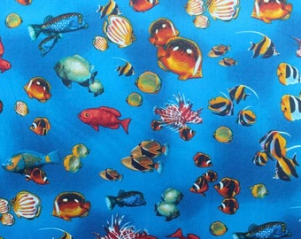Tropical Fishes Cotton Fabric  (Yardage Available)
