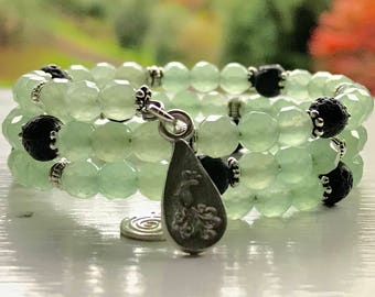 Fully Adjustable SPARKLING Green Aventurine Essential Oil Diffuser Bracelet with Sample Assertiveness Essential Oil Blend Aromatherapy