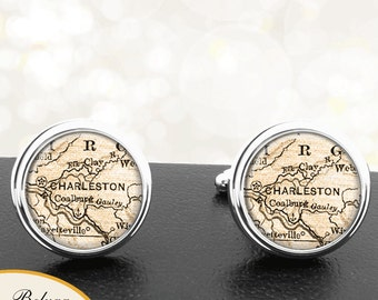 Cufflinks Charleston WV Handmade Cuff Links City State Maps West Virginia Groomsmen Wedding Party Fathers Dads Men