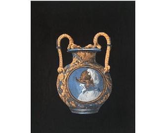 1866 ANTIQUE BLUE VASES & bottles lithograph rare unusual original antique hand colored print