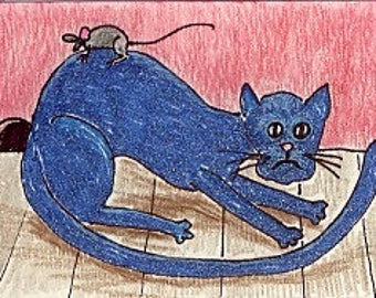 Blue Cat with Mouse