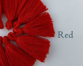 Red Cotton Tassels, 30-35mm, 10/20/50pc, Bulk Tassels, Crimson Red, Jewelry Making Supply, Australia, TS100