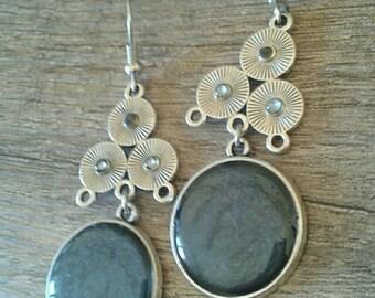 Silver earrings black dangle earrings Silver earrings Tibetan engraving and ebony black cabochon