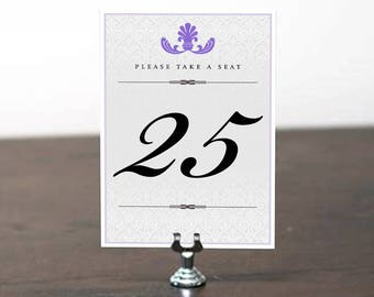 LADONNA Table Number, Table Cards, Table Signs, Wedding Stationery, Wedding Invitation Suite, Table Number Purple, Ultraviolet