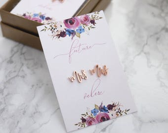 Future Mrs Earrings with Floral Card- MRS Multi Gold Rose Gold Silver Plated Earrings CUSTOM Name - Bridal Jewelry Bride Earrings
