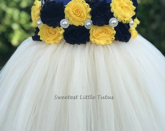 Navy Blue and Yellow Flower Girl Tutu Dress/ Navy Blue Yellow Flower Girl Dress/ Navy Blue Flower Girl Dress/ Yellow Flower Girl Dress