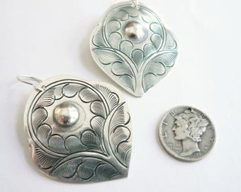 Silver tulip earrings Lightweight silver dangles Romantic everyday earrings Mexican style stamped tin Sterling silver earwire Feminine gift
