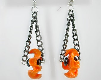 Orange & Black Lampwork Earrings, Artisan Curly Glass, Hematite, Chain, Halloween, OSU Colors