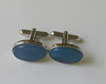 Vintage Swank Cuff Links Silver Tone Blue Cabuchon