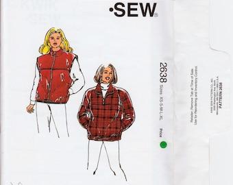 Womens Fleece Vest Pattern Fleece Pullover Jacket Fleece Jacket Pattern KWIK SEW 2638 UNCUT Xs-xL Womens Jacket Pattern Plus Size Jacket