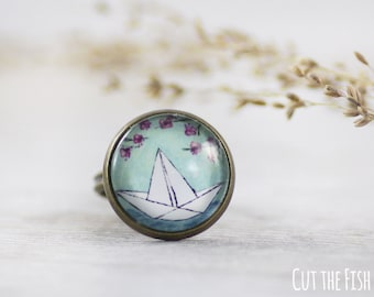 Blue Ring - Ring - Adjustable Ring - Gifts for her - Turquoise Ring - Rings Jewelry - Origami Ring - Paper Boat (14-1R)