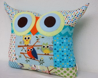 Sale /Patchwork owl pillow Aqua/ blue /PATCHWORK room decor pillow/for children/Ready to ship(large size)