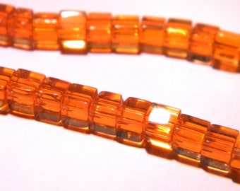 50 glass - cube with 4 mm - fashion Crystal beads - translucent orange - PG290-12