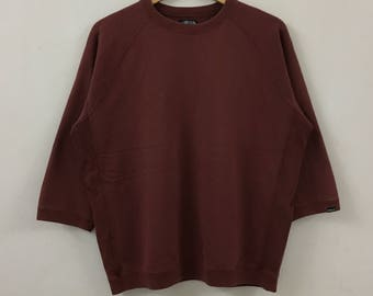 Vintage STUSSY Authentic Plain Design Maroon Sweatshirt twdJcJgla