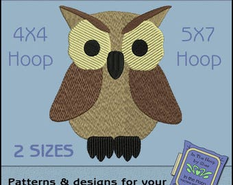 ITH Howard the Owl Design - Owl Embroidery File - Filled Stitches