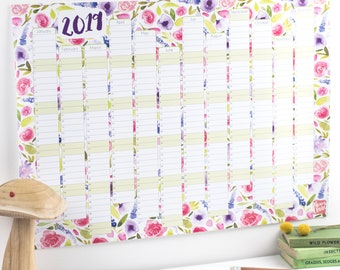 Large 2019 Wall Calendar And Year Planner - Floral wall planner 2018 - Botanical year wall planner - Floral tropical planner