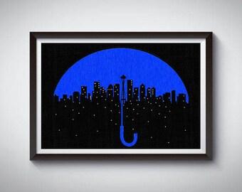 Seattle Art Poster Print, Seattle Rain Skyline Poster 2
