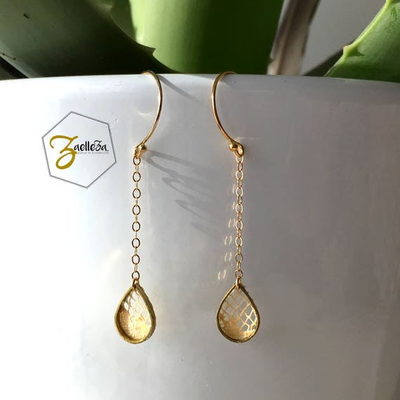 """Boucles d'oreille goutte doré dentelle en or 14 carats  - modèle """"PETITE PLUIE"""" Coll. HOLI // Zaelleza"""