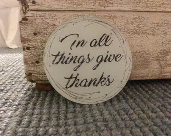 In All Things Give Thanks Glass Cutting Board