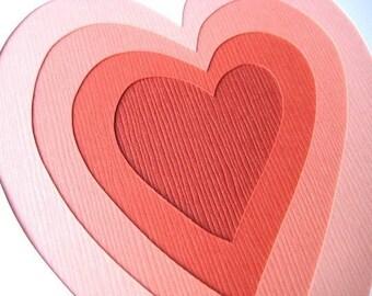 Layered Love - one hand cut art card