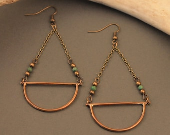 Amulet brass and turquoise earrings