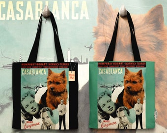 Norwich Terrier Art Tote Bag - Casablanca Movie Poster   Perfect DOG LOVER Gift for Her Gift for Him