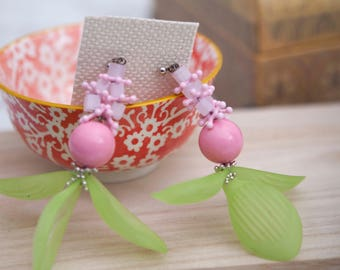 Acrylic drop-dangled earring -Spring Collection