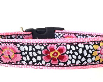 Pink Flowers Ribbon Dog Collar