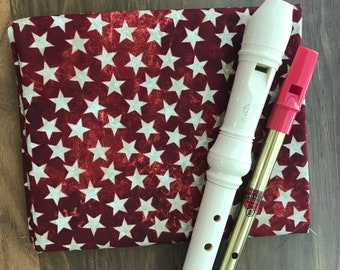 NEW FABRIC- Tin Whistle Bag, Recorder Cover, Irish Penny Whistle, Custom Case, Sleeve, Flute Fife Instrument Pouch, Red Stars