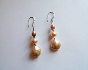 Orecchini Elite, perle d'acqua dolce rosa, oro e argento
