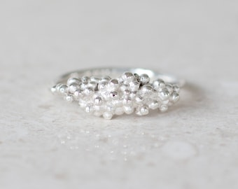Particle Ring, Granulation Ring, Sterling Silver Everyday Ring, Organic Jewelry by Prairieoats