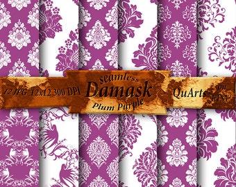 Plum Purple Damask Digital Paper Pack: Plum Digital Paper, Plum ornamental patterns Damask, Plum Damask Patterns, Printable Plum Background