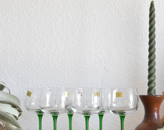 set of 6 luminarc green stemware champagne glasses / barware
