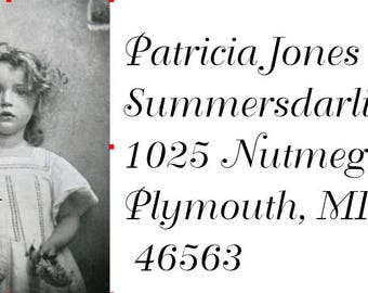 Return  address labels self adhesive*18 per sheet*Custom designed*Sweet little girl