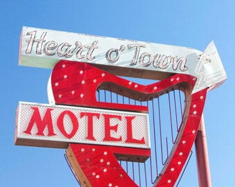Reno retro motel sign, sign photo, sign canvas, vintage signage, red heart, art deco sign, reno photography
