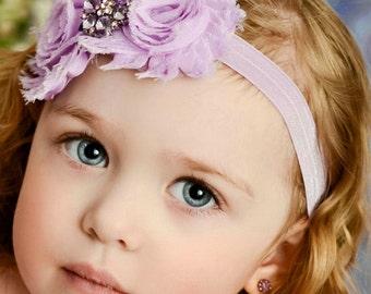Lavender baby headband, baby headbands, baby girl headband,Easter headband,Newborn Headband, Girls headbands, Shabby Chic Headband. #7
